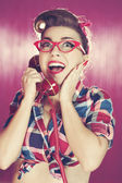 Retro woman on the phone — Stock Photo