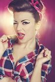 Retro sexy woman winking eye — Stock Photo