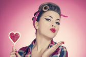 Valentine's day with pin up girl — Stock Photo