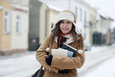 Student girl in wintertime — Stock Photo