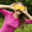 Fooling around with oranges — Stock Photo