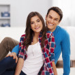 Foto Stock: Loving couple in living room