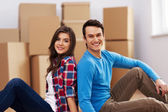 Young couple moving in their house — Stock Photo