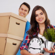 Stock Photo: Young couple moving in their home
