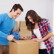 Loving couple packing boxes — Stock Photo #23490219
