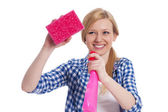 Young blonde female holding a cleaning equipment — Stock Photo