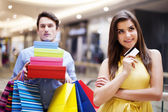 Portrait of a beautiful female shopaholic — Stock Photo