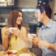 Two in cafe enjoying the time spending with each other — Stock Photo