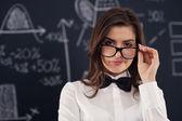 Portrait de belle étudiante — Photo