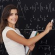 Female student thinking about mathematics problem — Stock Photo