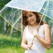 Woman with umbrella during the rain  — Stock Photo