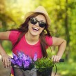 Happy woman spending time in nature — Stock Photo #27343799