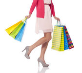 携带购物袋,低一节 — 图库照片