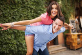 Young couple have fun during the date — Stock Photo