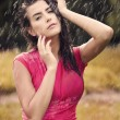 Stock Photo: Sexy womin summer raindrop