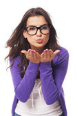 Beautiful woman sending a kiss — Stock Photo