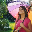 Stock Photo: Young wombreathing fresh air during spring rain