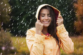 Natural female beauty in autumn rain — Stock Photo