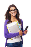 Portrait of happy mobility female student — Stock Photo