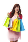 Moda mujer joven con bolsas de compras — Foto de Stock