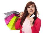 ショッピング バッグやクレジット カードを持つ女性の夢 — ストック写真