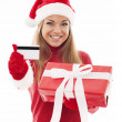 Woman with red gift and credit card — Stock Photo #30263421