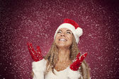 Woman with snowflakes — Stock Photo