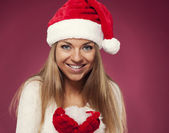 Mrs claus with snowflakes — Stock Photo