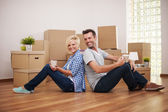 Coffee break while moving in — Stock Photo