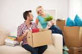 Couple arranging a new flat — Stock Photo
