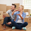 Stock Photo: Couple planning decor in new home