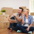 Couple thinking about decoration in new home  — Stok fotoğraf