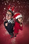 Freezing nerd couple — Stock Photo