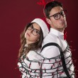 Foto Stock: Nerd couple