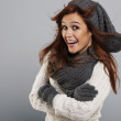 Portrait of happy woman wearing fashion winter clothes — Stock Photo