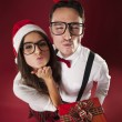 Nerd couple blowing kisses — 图库照片