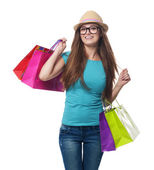 Happy woman is satisfaction from shopping — Stock Photo