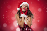 Christmas portrait of beautiful woman during the magic time — Stock Photo