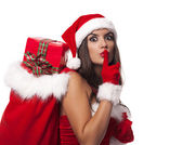 Mrs claus showing silence sign — Stock Photo