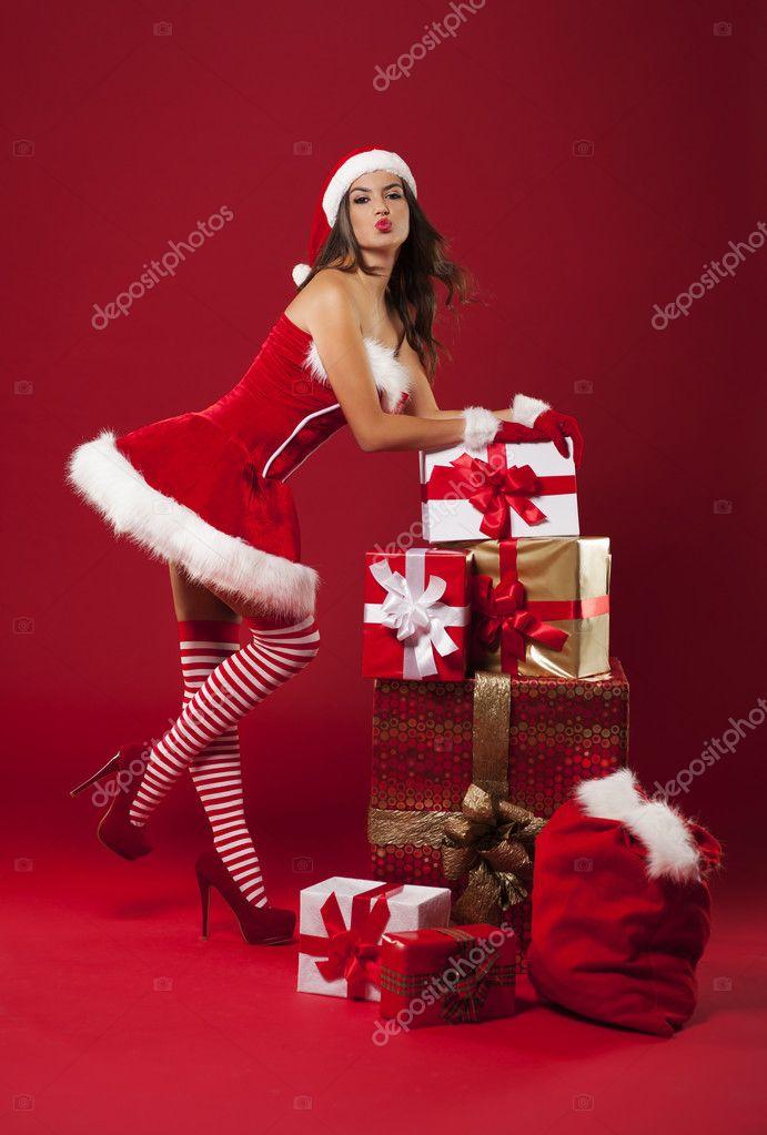 luxuri se weihnachten mit sexy frau stockfoto. Black Bedroom Furniture Sets. Home Design Ideas
