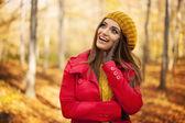 Woman in fashion autumn clothes — Zdjęcie stockowe