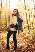 Beautiful and smiling hiker — Stok fotoğraf