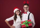 Smiling nerd couple — Stockfoto
