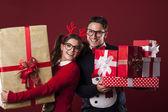 Happy nerd couple — Stock Photo