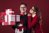Nerdy woman and her boyfriend — Stock Photo