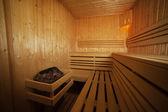 Interior of health wooden spa — Stock Photo