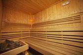 Interior of wooden sauna bath — Stock Photo