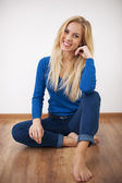 Smiling blonde woman — Stock Photo