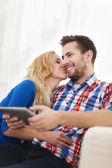 Portrait of lovely couple at home — Stock Photo