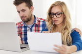 Focus couple and home finances — Stock Photo